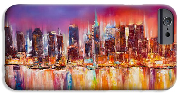Abstract Canvas Paintings iPhone Cases - Vibrant New York City Skyline iPhone Case by Manit