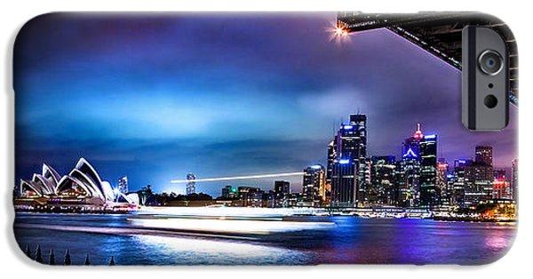 Business Photographs iPhone Cases - Vibrant Sydney Harbour iPhone Case by Az Jackson
