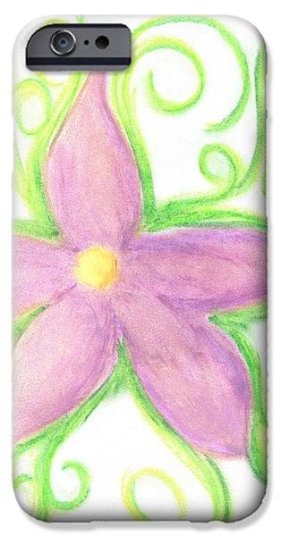 Vibrant Pastels iPhone Cases - Vibrant Vines iPhone Case by Marie De Garo