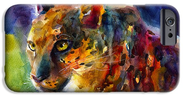 Safari Prints iPhone Cases - Vibrant watercolor leopard wildlife painting iPhone Case by Svetlana Novikova
