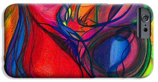 Colored Pencil Abstract Drawings iPhone Cases - Vibrational Heart Healing - Sounds of Radiant Joy  Purity of Heart  Soul  Mind and Body Aligned iPhone Case by Daina White