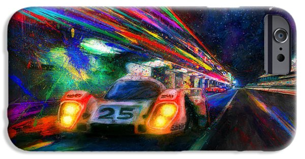 Le Mans 24 iPhone Cases - Vics Night Out iPhone Case by Alan Greene
