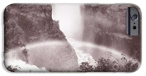 Descending iPhone Cases - Victoria Falls Zimbabwe Africa iPhone Case by Panoramic Images