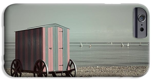 Bathing iPhone Cases - Victorian Bathing Machine iPhone Case by Mal Bray