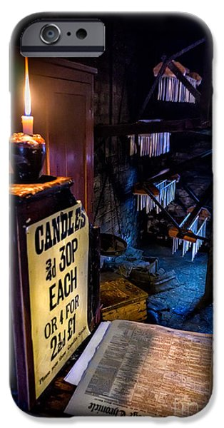 Newspaper iPhone Cases - Victorian Candle Shop iPhone Case by Adrian Evans