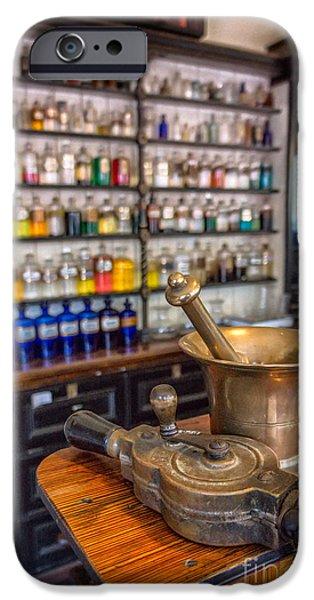 Clock Shop iPhone Cases - Victorian Chemist Equipment iPhone Case by Adrian Evans