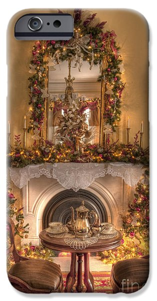 Interior Still Life iPhone Cases - Victorian Christmas by the Fire iPhone Case by Margie Hurwich