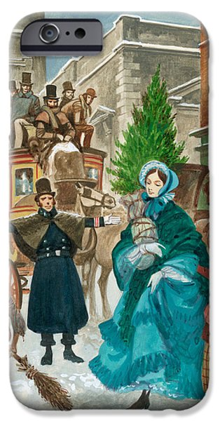 Sweeps iPhone Cases - Victorian Christmas Scene iPhone Case by Peter Jackson