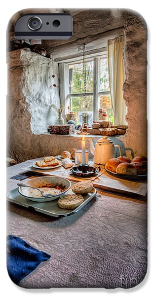 Newspaper iPhone Cases - Victorian Cottage Breakfast iPhone Case by Adrian Evans