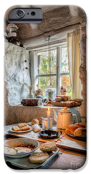 Newspaper iPhone Cases - Victorian Cottage Breakfast v.2 iPhone Case by Adrian Evans