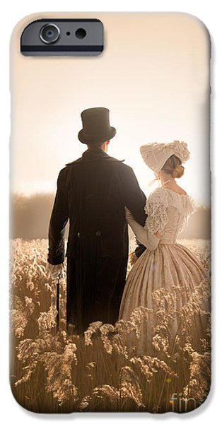 Women Together iPhone Cases - Victorian Couple In A Meadow iPhone Case by Lee Avison