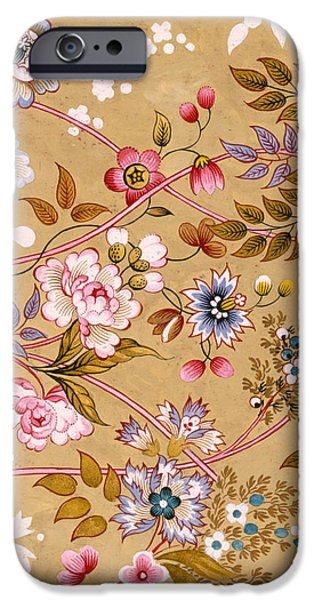 Vine Leaves iPhone Cases - Victorian Floral Pattern Phone Case iPhone Case by English School