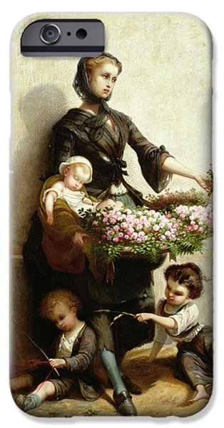 Poverty iPhone Cases - Victorian Flower Seller iPhone Case by Leopold de Moulignon