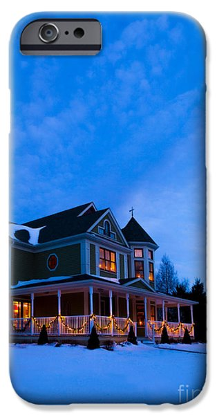 Christmas iPhone Cases - Victorian House at Christmastime iPhone Case by Diane Diederich