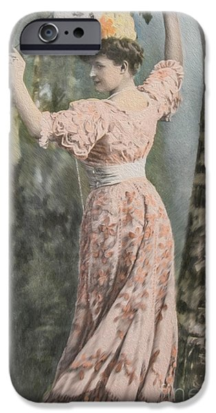 Adorable Digital Art iPhone Cases - Victorian lady in beautiful dress iPhone Case by Patricia Hofmeester