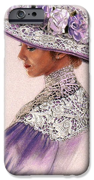 Lady Pastels iPhone Cases - Victorian Lady in Lavender Lace iPhone Case by Sue Halstenberg