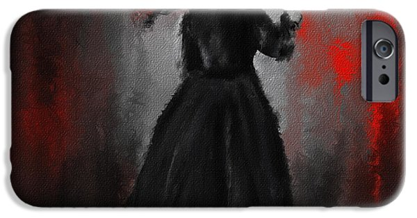 Countess iPhone Cases - Victorian Lady With Parasol iPhone Case by Lourry Legarde