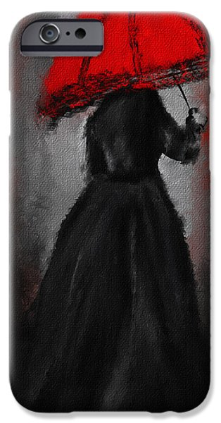 Victorian Lady With Parasol iPhone Case by Lourry Legarde