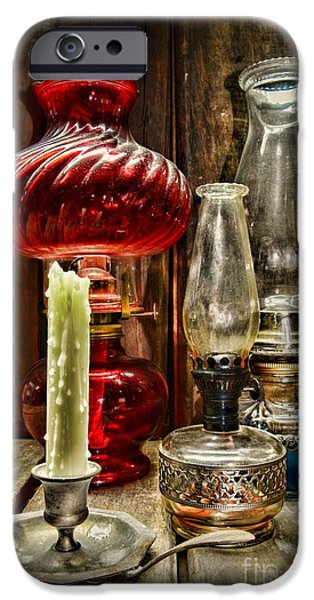 Hurricane Lamp iPhone Cases - Victorian Lamps iPhone Case by Paul Ward