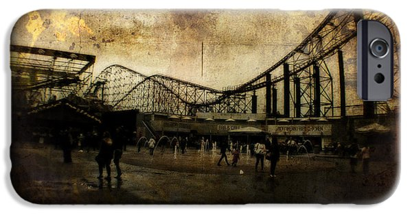 Turn Of The Century Mixed Media iPhone Cases - Victorian Roller Coaster - Circa 2014 iPhone Case by Michael Braham