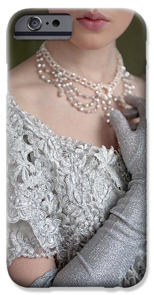 Glitter Glove iPhone Cases - Victorian Woman Detail iPhone Case by Lee Avison