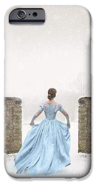 Recently Sold -  - Wintertime iPhone Cases - Victorian Woman Running In Snow iPhone Case by Lee Avison