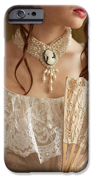 Choker iPhone Cases - Victorian Woman With A Fan iPhone Case by Lee Avison