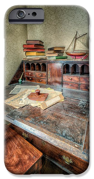 Antiques iPhone Cases - Victorian Writing Bureau iPhone Case by Adrian Evans