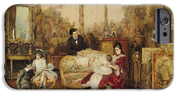 Furniture iPhone Cases - Victorien Sardou and his Family in their Drawing Room iPhone Case by Auguste de la Brely