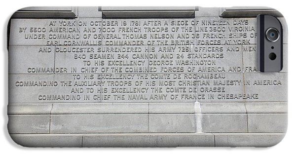 Yorktown iPhone Cases - Victory Monument Detail iPhone Case by Jeff Roney