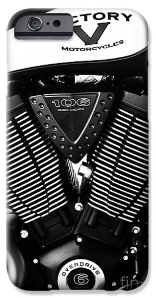 Industry iPhone Cases - Victory Motorcycle Monochrome iPhone Case by Tim Gainey
