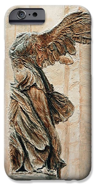 Nike Paintings iPhone Cases - Victory of Samothrace iPhone Case by Joey Agbayani