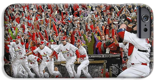 History Mixed Media iPhone Cases - VICTORY - St Louis Cardinals win the World Series Title - Friday Oct 28th 2011 iPhone Case by Dan Haraga