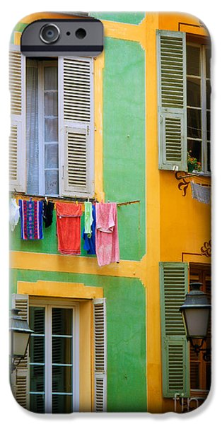 Facade iPhone Cases - Vieille Ville Windows iPhone Case by Inge Johnsson