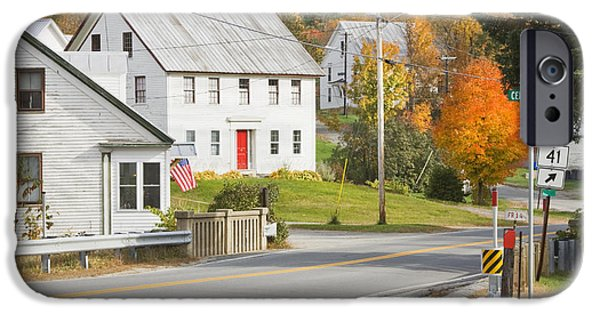 Rural Maine Roads iPhone Cases - Vienna Maine in Fall iPhone Case by Keith Webber Jr