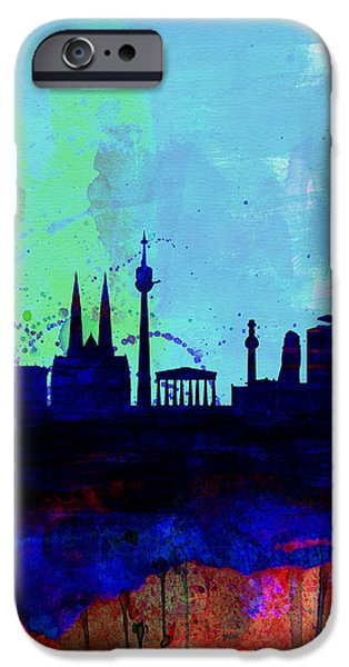 Austria iPhone Cases - Vienna Watercolor Skyline iPhone Case by Naxart Studio
