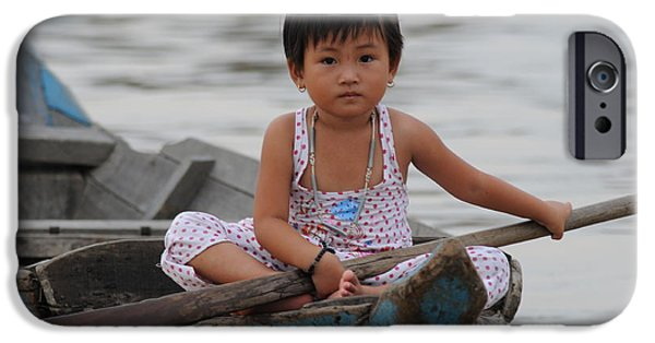 East Village iPhone Cases - Vietnamese Girl on Lake Tonle Sap iPhone Case by Vivian Christopher