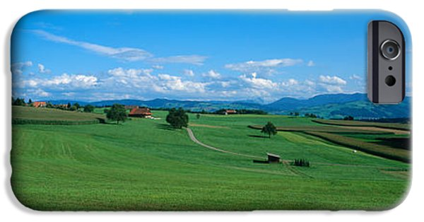 Field. Cloud iPhone Cases - View Along Rural Hillside, Zurich iPhone Case by Panoramic Images