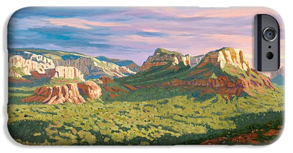 Sedona Paintings iPhone Cases - View from Airport Mesa - Sedona iPhone Case by Steve Simon