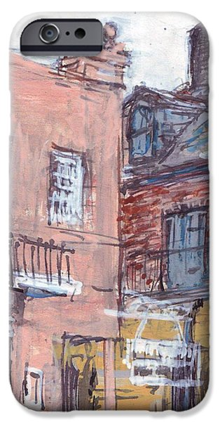 Waiter Drawings iPhone Cases - View From Cafe Du Monde iPhone Case by Edward Ching