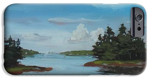 Maine Roads Paintings iPhone Cases - View From Mountain Road iPhone Case by Bill Tomsa