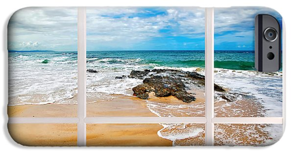 White Frame House iPhone Cases - View from my Beach House Window iPhone Case by Kaye Menner
