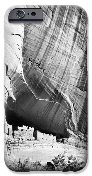 Chelly iPhone Cases - View from river valley Canyon de Chelly iPhone Case by Ansel Adams