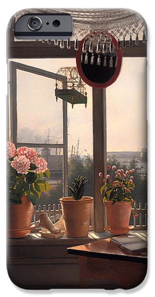 Ledge iPhone Cases - View from the Artists Window iPhone Case by Martinus Rorbye