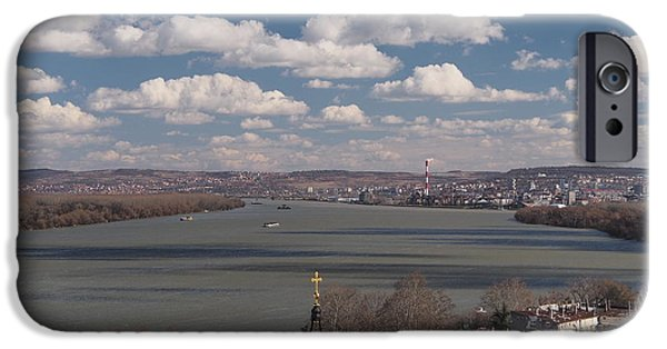 Tile Composition iPhone Cases - View from the Millennium Tower in Zemun iPhone Case by Dragan Dejanovic