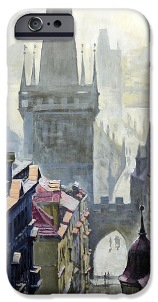 Oil On Canvas iPhone Cases - View from the Mostecka street in the direction of Charles Bridge iPhone Case by Yuriy Shevchuk