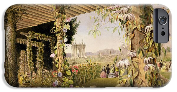 Garden iPhone Cases - View From The Rustic Seat Shrublands iPhone Case by E Adveno Brooke