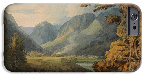 Drawing Of Eagle iPhone Cases - View in Borrowdale of Eagle Crag and Rosthwaite iPhone Case by Celestial Images