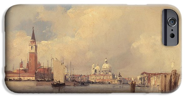 Boats In Water Paintings iPhone Cases - View in Venice iPhone Case by Richard Parkes Bonington