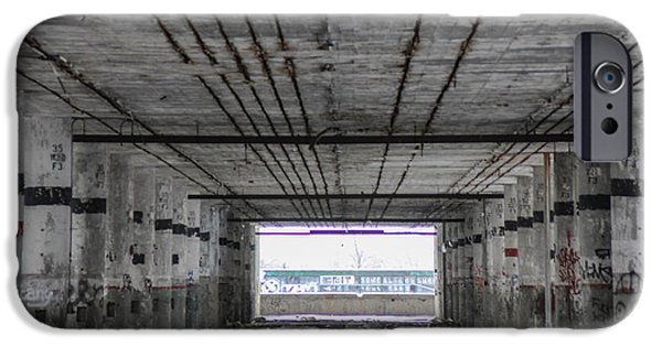 Town iPhone Cases - View into Packard Plant in Detroit  iPhone Case by John McGraw